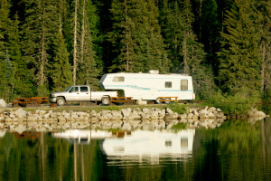 Camping trailer at lake